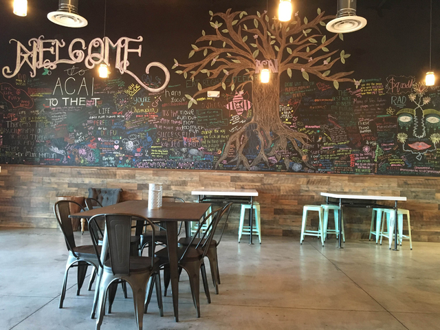 A wallk inside Acai to the T's new northwest location at 5635 Centennial Center Blvd. Suite 110, features inspirational sayings and quotes. Sandy Lopez/View