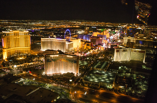 An aerial view of Las Vegas Strip is seen on Thursday, April 21, 2016. Jeff Scheid/Las Vegas Review-Journal Follow @jlscheid