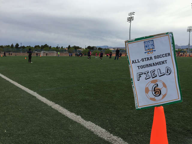 Approximately 360 students from nine Las Vegas elementary schools and enrolled in After-School All-Stars Las Vegas participate in the annual All-Star Soccer Tournament April 7, 2016, at the Kellog ...