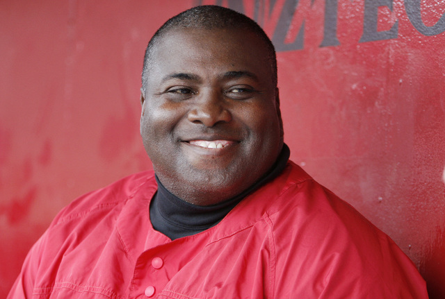 Hall of Fame baseball player and head coach of San Diego State's baseball team, Tony Gwynn, laughs while talking about the prospects of his team during a practice Tuesday, Jan. 30, 2006, in San Di ...