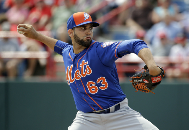 New York Mets' Gabriel Ynoa pitches in the third inning against the Washington Nationals in a spring training baseball game, Thursday, March 3, 2016, in Viera, Fla. (AP Photo/John Raoux)
