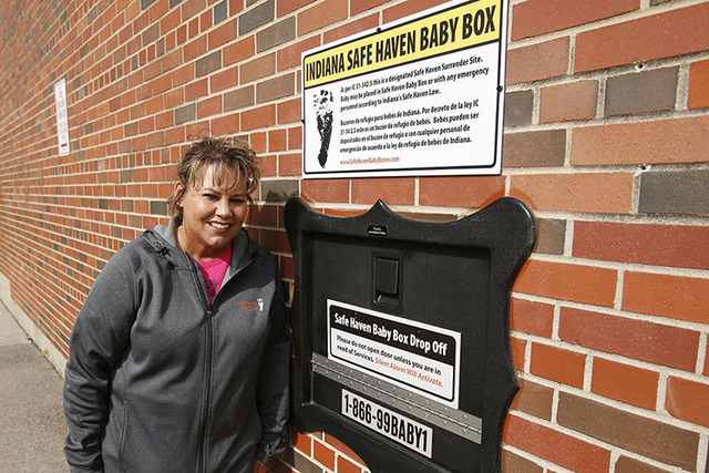 Monica Kelsey and the town of Woodburn, Ind., dedicated the first Safe Haven Baby Box of its kind on Tuesday, April 26, 2016, at the Woodburn Volunteer Fire Department. The box, which is temperatu ...