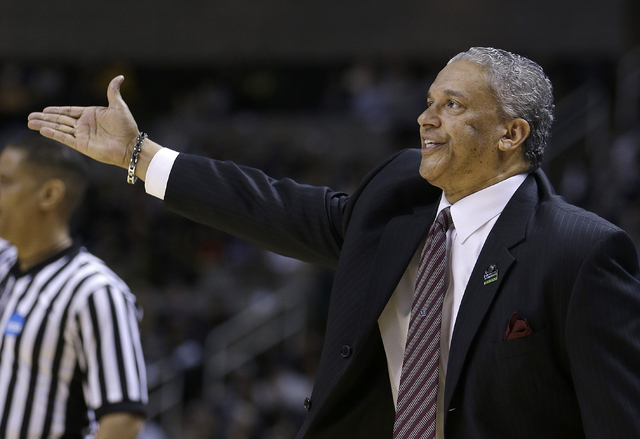 New Mexico State head coach Marvin Menzies gestures during the first half of a second-round game in the NCAA college basketball tournament against Saint Louis in San Jose, Calif., Thursday, March  ...