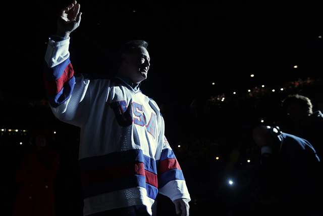 "Jim Craig of the 1980 U.S. ice hockey team is introduced during a ""Relive the Miracle"" reunion at Herb Brooks Arena on Saturday, Feb. 21, 2015, in Lake Placid, N.Y. Thirty-five years after the tea ..."