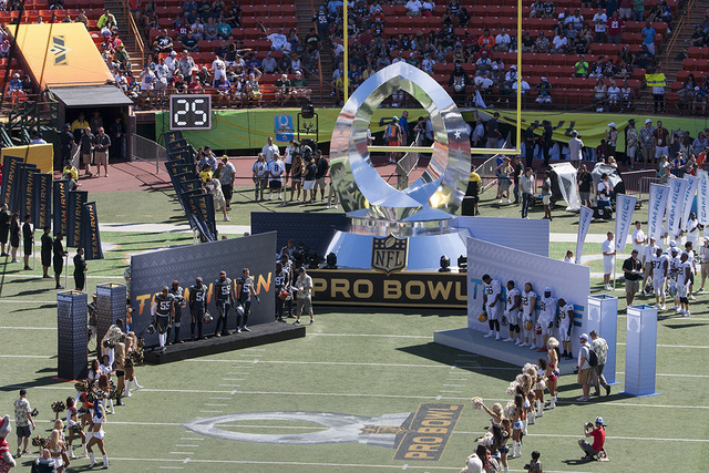 The all-star football players are introduced before the start of the NFL Pro Bowl football game, Sunday, Jan. 31, 2016, in Honolulu. (Eugene Tanner/AP)