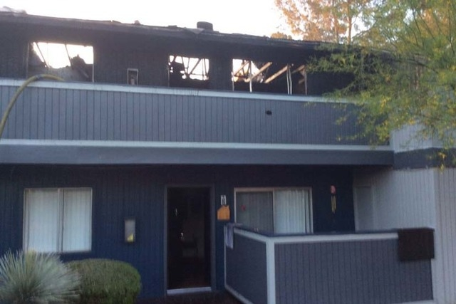 Fire at Cornerstone Crossings apartments, 6666 W. Washington Ave., Friday, May 13, 2016. (Las Vegas Fire Department)