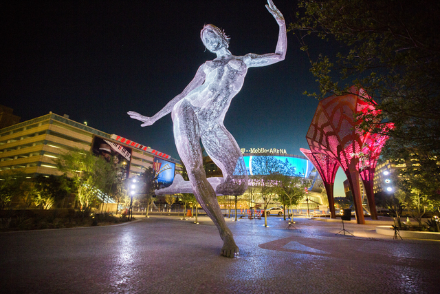 Bliss Dance sculpture created by artist Marco Cochrane is seen in The Park on Wednesday, March 23, 2016. Jeff Scheid/Las Vegas Review-Journal Follow @jlscheid