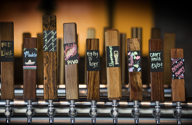 Beer taps are seen at the Beerhaus at The Park is seen on Monday, April 4, 2016. The bar has 26 beers on tap. (Jeff Scheid/Las Vegas Review-Journal Follow @jlscheid)