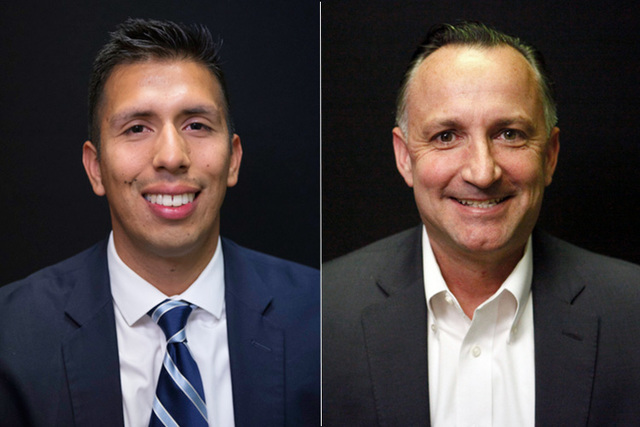 Candidates for state assembly district 10, from left, Democrats German Castellanos and Chris Brooks. The two will face off in the primary. (Las Vegas Review-Journal)