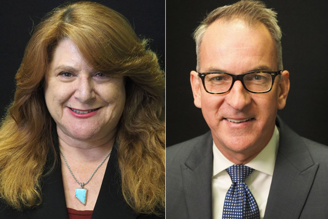 Candidates for assembly district 20, from left, Democrats Ellen Spiegel (incumbent) and Darren Welsh. The two will face off in the primary. (Las Vegas Review-Journal)