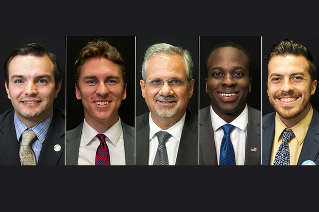 Candidates for state assembly district 21, from left, Republicans Derek Armstrong (incumbent), Blain K. Jones, Ozzie Fumo, and Democrats Ben Nakhaima, Vinny Spotleson. (Las Vegas Review-Journal)