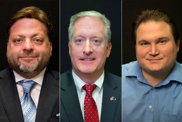 Candidates for state assembly district 22, Democrat Mark W. Isquith and Republicans Keith Pickard, Richard Bunce. Not pictured is Luis Aguirre-Insua. (Las Vegas Review-Journal)