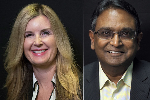 Candidates for state assembly district 23, from left, Republicans Melissa Woodbury (incumbent) and Swadeep Nigam. The two will face off in the primary. (Las Vegas Review-Journal)