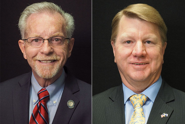 Candidates for state assembly district 37, from left, Republicans Glenn Trowbridge (incumbent) and Jim Marchant. (Las Vegas Review-Journal)