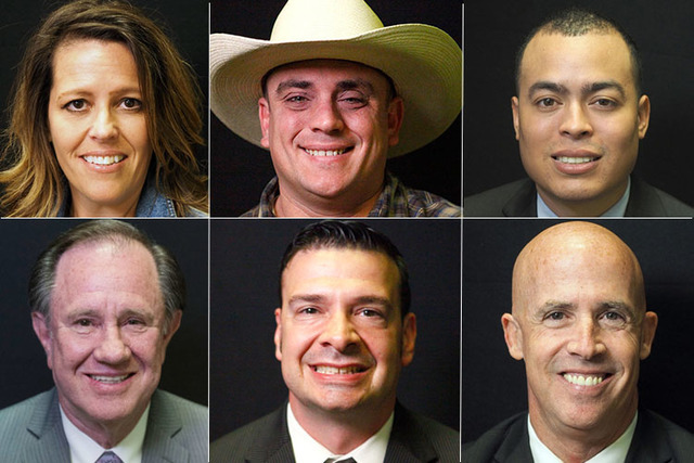 Candidates for state assembly district 2, clockwise from top left, Republicans Melissa Laughter, Burt Lucas, and Democrats Earle Orr, Kenneth Rezendes, John Piro, and Richard McArthur. (Las Vegas  ...