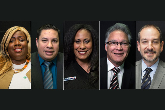 """Candidates for state assembly district 5, from left, Democrats Shannon Churchwell, Rory Martinez, Brittney Miller, and Republicans Tony Baca, Artemus """"Art"""" Ham. (Las Vegas Review-Journal)"""