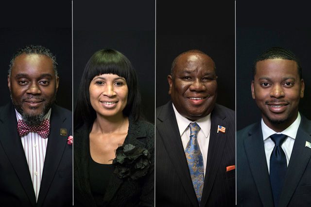 Candidates for state assembly district 6, from left, Democrats Arrick Foster, Valencia Burch, Macon Jackson, William McCurdy II. (Las Vegas Review-Journal)