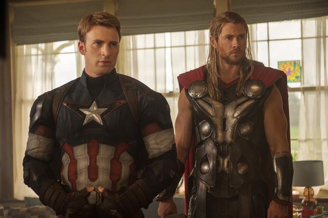 "Captain America/Steve Rogers (Chris Evans) and Thor (Chris Hemsworth) in ""Age of Ultron."" (Marvel)"