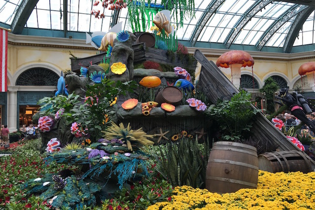 "A floral display is shown on the opening night of the Bellagio Conservatory's ""Under the Sea"" summer display on Friday, May 20, 2016. (Caitlin Lilly/Las Vegas Review Journal)"