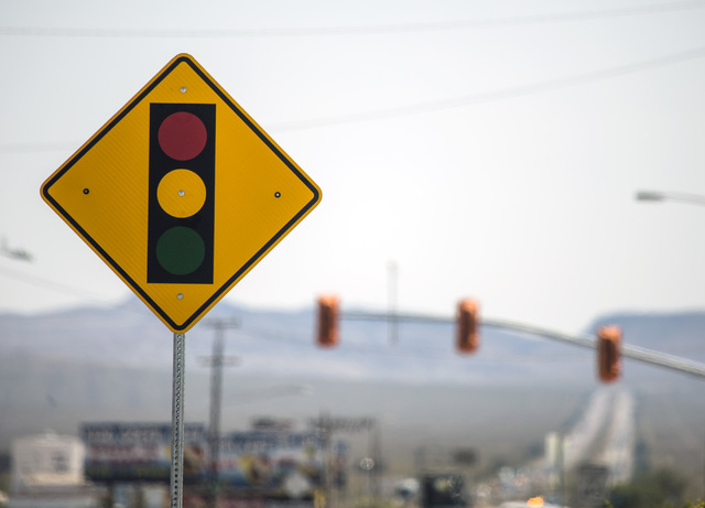 The first traffic light in Baker, Cal.  is seen on Monday, May, 23, 2016. The owner of Baker Travel Plaza spent four years trying to install the signal because it is cheaper than a traffic mitigat ...