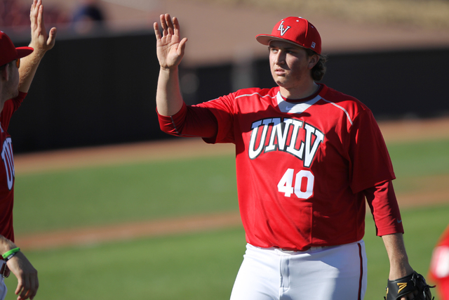 UNLV pitcher D.J. Myers, shown last season, gave up two runs in five innings Friday in the Rebels' 11-6 victory over first-place New Mexico at Wilson Stadium. (Erik Verduzco/Las Vegas Review-Journal)