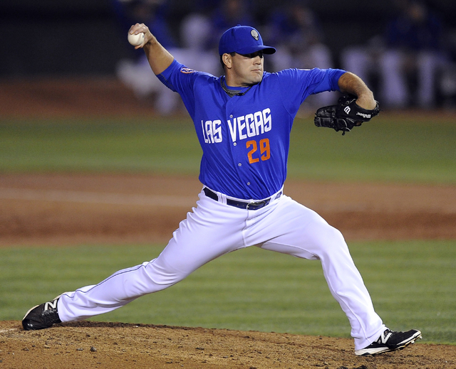 Las Vegas 51s pitcher Chasen Bradford delivers in the sixth inning of a Triple-A minor league baseball game against the Nashville Sounds at Cashman Field in Las Vegas Wednesday, June 18, 2014. (Jo ...