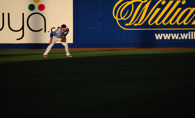 Las Vegas 51s center fielder Kyle Johnson is seen in the first inning of their minor league baseball game against the Memphis Redbirds at Cashman Field in Las Vegas Friday, May 27, 2016. Las Vegas ...