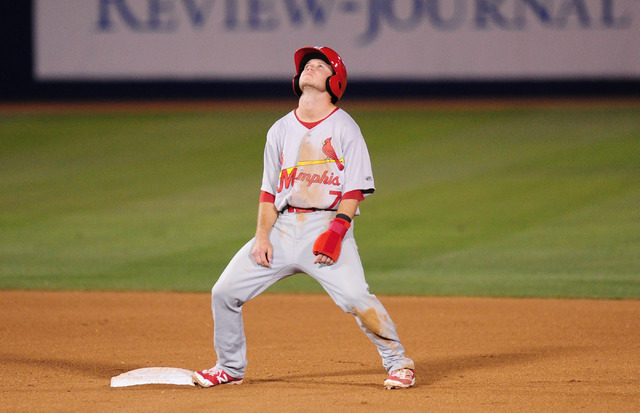 Memphis Redbirds base runner Matt Williams reacts after being called out after he tried to steal second base in the seventh inning of their minor league baseball game against the Las Vegas 51s at  ...