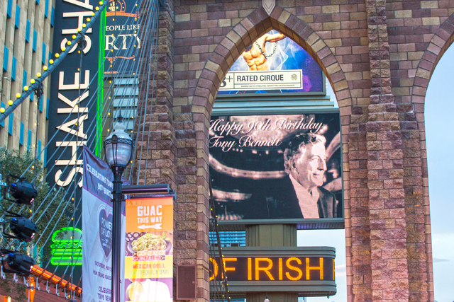 """Images of Tony Bennett were displayed up and down the strip for the music legend's 90th birthday, Thursday, May 19, 2016, at the """"Brooklyn Bridge"""" in front of New York-New York H ..."""