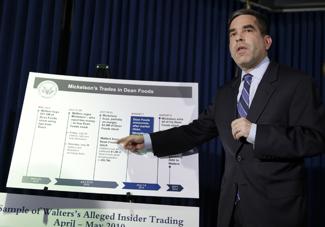 Andrew Ceresney, head of the SEC's Enforcement Division, explains some details of an alleged insider trading scheme during a news conference in New York, Thursday, May 19, 2016. Seth Wenig/Associa ...