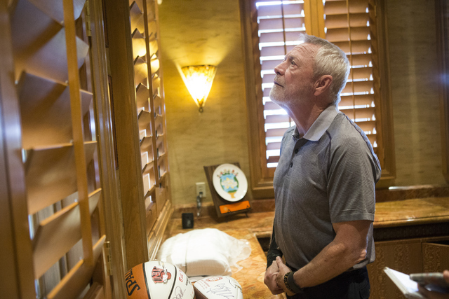 Mike Luce, longtime president of the The Walters Group, shows the office of Bill Walters, famed sports bidder and developer, during an interview at the Bali Hai Golf Club on Wednesday, May 25, 201 ...