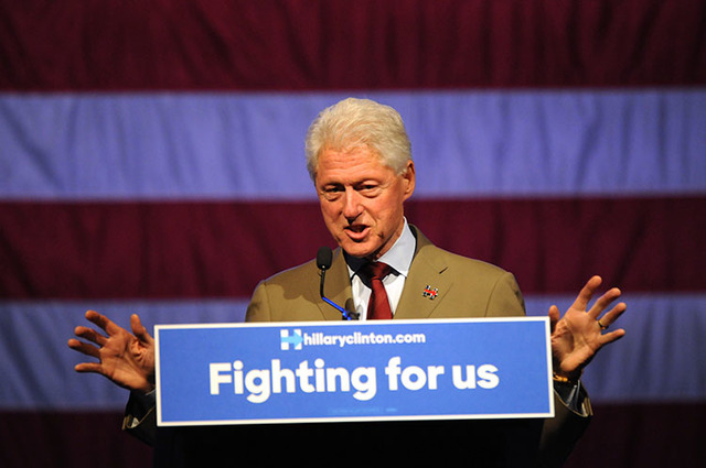 Former President Bill Clinton campaigns for his wife, Hillary Clinton, on Friday, May 20, 2016, in Sioux Falls, S.D. (James Nord/The Associated Press)