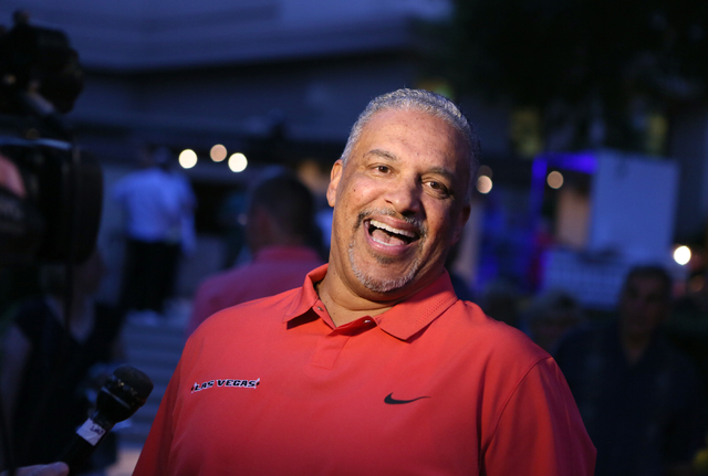 UNLV coach Marvin Menzies shares a laugh while speaking with the news media at the 9th annual Coaches vs. Cancer Las Vegas Golf Classic hosted at MGM Grand Sunday, May 22, 2016, in Las Vegas. Rond ...