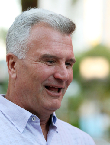 Kansas State coach Bruce Weber speaks to the news media during the 9th annual Coaches vs. Cancer Las Vegas Golf Classic hosted at MGM Grand Sunday, May 22, 2016, in Las Vegas. Ronda Churchill/Las  ...