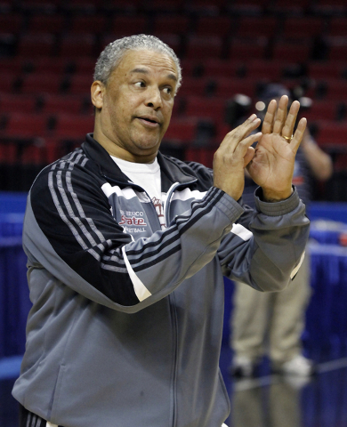 New Mexico State coach Marvin Menzies gestures during practice in Portland, Ore., Wednesday, March 14, 2012.  New Mexico State plays Indiana in an NCAA tournament second-round college basketball g ...