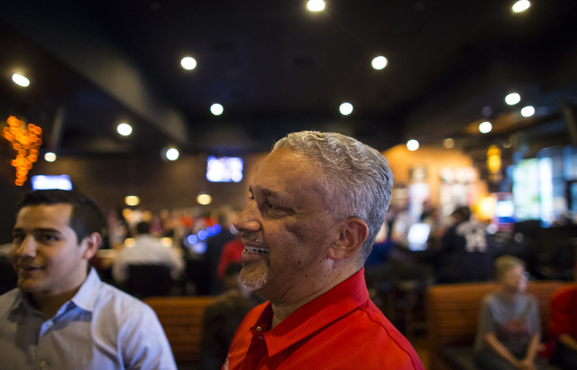UNLV basketball head coach Marvin Menzies talks with attendees during a meet and greet at Born and Raised in Las Vegas on Tuesday, May 17, 2016. Chase Stevens/Las Vegas Review-Journal Follow @csst ...