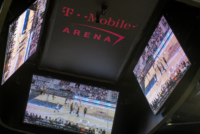 Video screens are seen during the Harlem Globetrotters performance at T-Mobile Arena in Las Vegas on Tuesday, April 19, 2016. (Martin S. Fuentes/Las Vegas Review-Journal)