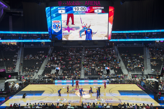 The Harlem Globetrotters perform at T-Mobile Arena in Las Vegas on Tuesday, April 19, 2016. (Martin S. Fuentes/Las Vegas Review-Journal)