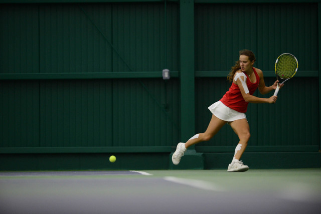 Anna Bogoslavets competes in Mountain West Women's Tennis Championship at the Fort Collins Country Club on May 1 in Fort Collins, Colorado recently. (Courtesy Stephen Nowland/NCAA Photos)