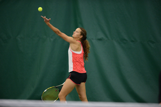 Anna Bogoslavets competes in the Mountain West Women's Tennis Championship at the Fort Collins Country Club on April 30 in Fort Collins, Colorado. (Courtesy Stephen Nowland/NCAA Photos)