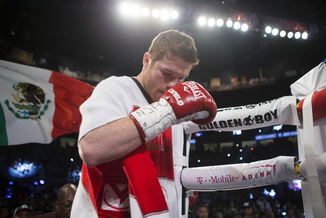 "Saul ""Canelo"" Alvarez makes his way to the ring his fight against Amir Khan in the WBC Middleweight Title bout at the T-Mobile Arena on Saturday, May 7, 2016, in Las Vegas. Alvarez won by way  ..."