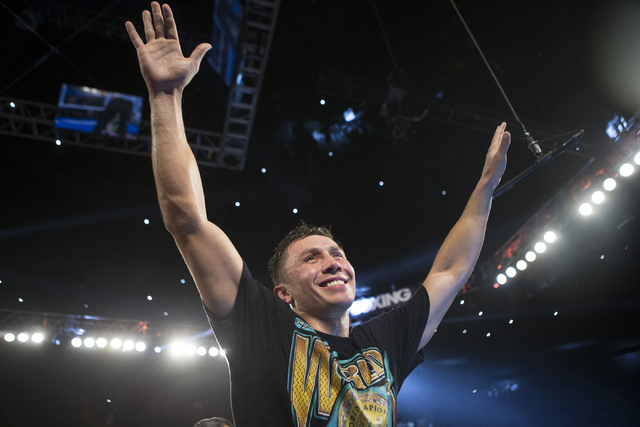 Gennady Golovkin celebrates his win against against Dominic Wade in the Middleweight World Championship bout at The Forum on Saturday, April 23, 2016, in Inglewood, Calif. Golovkin won by way of k ...