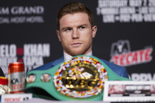 """Saul """"Canelo"""" Alvarez looks on during his final press conference before his fight against Amir Khan at the Ka Theater inside MGM Grand casino-hotel on Wednesday, May 4, 2016, in  ..."""