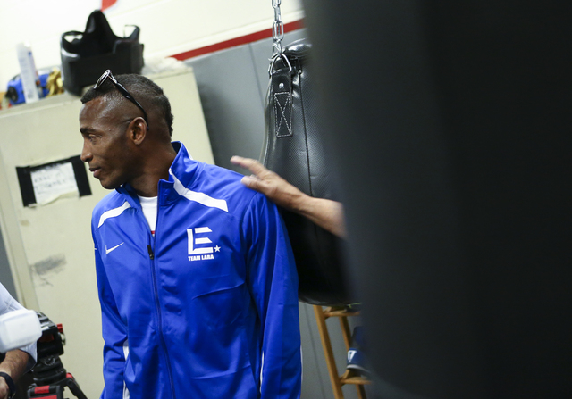 Erislandy Lara arrives for a workout ahead of his WBA World super welterweight title fight against Vanes Martirosyan, slated for Saturday at the Cosmopolitan hotel-casino, at UNLV's boxing gym in  ...