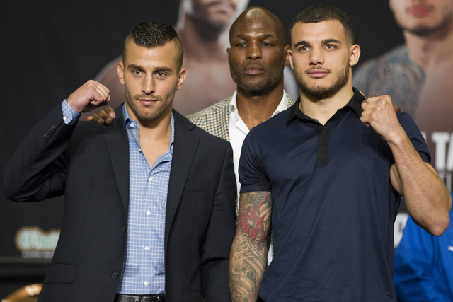 David Lemieux, left, and Glen Tapia pose during the final press conference before their fight at the MGM Grand hotel-casino on Thursday, May 5, 2016, in Las Vegas. (Erik Verduzco/Las Vegas Review- ...