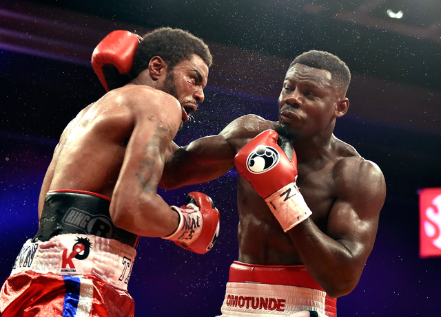 Andrew Tabiti, right, of Las Vegas and Keith Tapia of New York battle it out during a cruiserweight fight at Sam's Town hotel-casino Friday, May 13, 2016, in Las Vegas. Tabiti won by a unanimous d ...