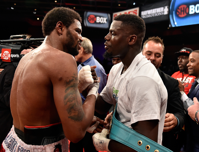 Andrew Tabiti, right, of Las Vegas and Keith Tapia of New York congratulate each other after their cruiserweight fight at Sam's Town hotel-casino Friday, May 13, 2016, in Las Vegas. Tabiti won by  ...