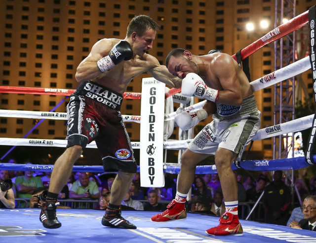 Petr Petrov, left, hits Marvin Quintero against the ropes during their lightweight fight at Toshiba Plaza, adjacent to the T-Mobile Arena, in Las Vegas on Friday, May 6, 2016. Petrov won at the en ...