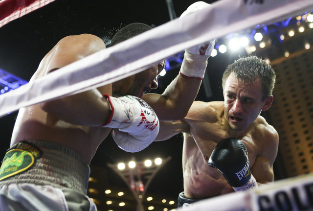 Petr Petrov, right, fights Marvin Quintero during their lightweight fight at Toshiba Plaza, adjacent to the T-Mobile Arena, in Las Vegas on Friday, May 6, 2016. Petrov won at the end of round 6 wi ...