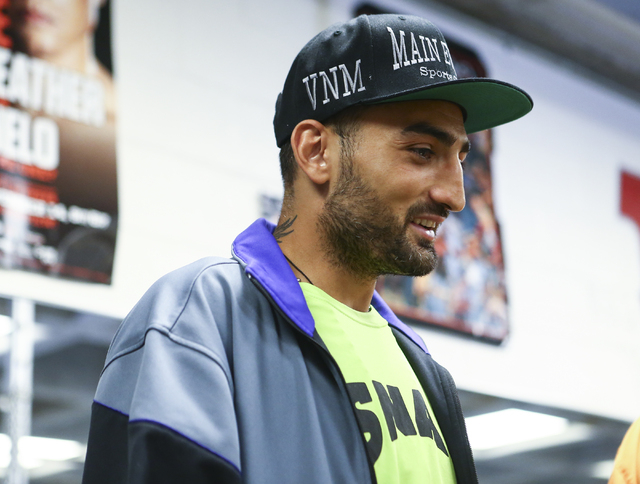 Vanes Martirosyan is shown before a workout ahead of his WBA World super welterweight title fight against Erislandy Lara, slated for Saturday at the Cosmopolitan hotel-casino,  at UNLV's boxing gy ...